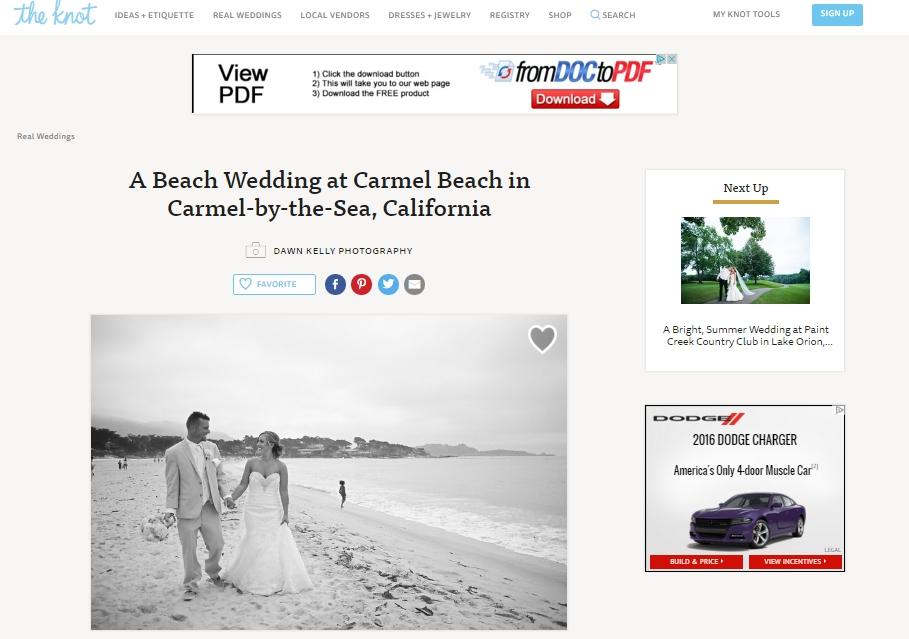 Feature ~ The Knot!  Sarah & Tim's Carmel Beach Wedding